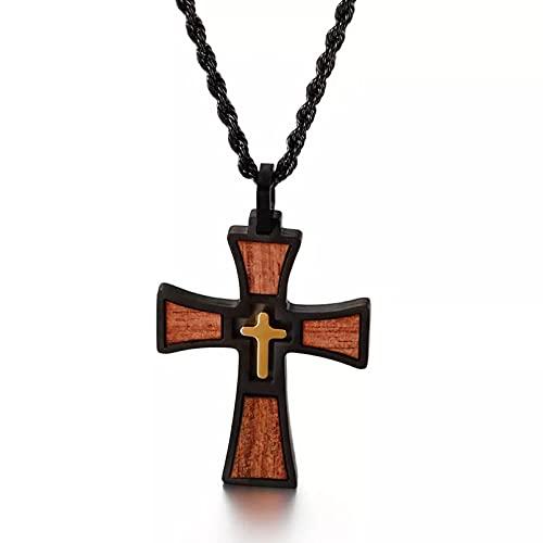 SOTUVO Collar Collares con Colgante de Cruz de Madera de Bautismo de Iglesia para Hombres, joyería de Acero Inoxidable, Cadena de 24 Pulgadas, joyería Punk para Hombre, Regalo de cumpleaños
