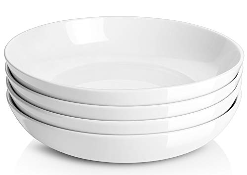 Large Pasta Bowls, Wide & Shallow Plates and Bowls Set, Microwave & Dishwasher Safe