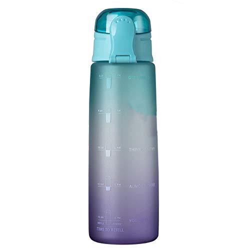 BOINN Botella de Agua para Fitness de 32 Oz con Marcador de Tiempo Jarra de Agua de Gran Capacidad Sin BPA para Gimnasio Trabajo de Oficina Al Aire Libre Degradado- Verde
