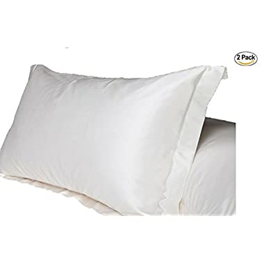 UNIHOME 100% Silky Satin Hair Beauty Pillowcase, Standard/Queen 2PCS SET (Natual White)