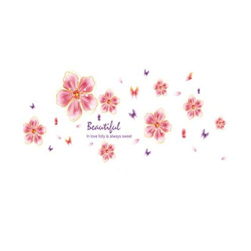 Muursticker XINYALAMP Warm Romantisch Roze Droom Zoete Bloemen Woonkamer Slaapkamer Slaapbank Achtergrond Muur Verwijderbare Stickers