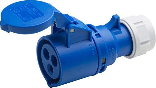 Meister CEE-Kupplung - 3-polig - blau - 230 V - 16 A - Maximaler Kabelquerschnitt 2,5 mm² (flexible Adern) & 4,0 mm² (starre Adern) - IP44 Außenbereich / Caravan-Kupplung mit Klappdeckel / 7425230