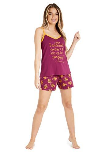 HARRY POTTER Pijamas Mujer, Conjunto 2 Piezas Camiseta Tirantes y Shorts, Pijama Mujer Algodon 100%, Merchandising Oficial Regalos para Mujer y Adolescentes (Granate, XL)
