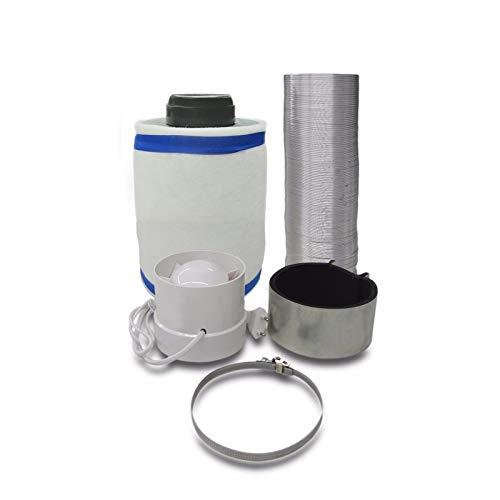 Grow Lüftungsset Klimaset Abluft-Filter Ø100mm bis 160m³/h, Zentrifugal Lüfter 130 m3/h für Growbox