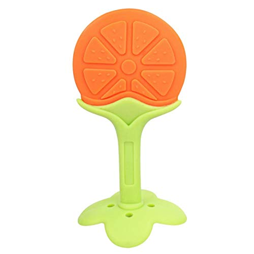 Alimento de silicona de seguridad para niños de frutas de látex para entrenamiento de bebé, color naranja, fresas, sin BPA, 1 unidad