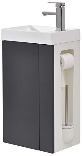 Badmöbel-Set Compact 400 für Gäste-WC - Anthrazit matt, Ablaufgarnitur/Pop-up:Mit Ablaufgarnitur