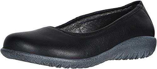 NAOT Footwear Women's Taupo Flat Soft Black Leather 7 M US