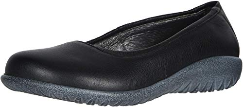 NAOT Footwear Women's Taupo Flat Soft Black Leather 7 M US