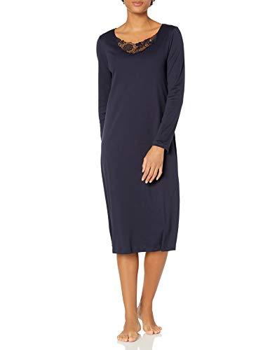 Hanro Damen Flora Long Sleeve Gown Nachthemd, Major Blau, X-Small