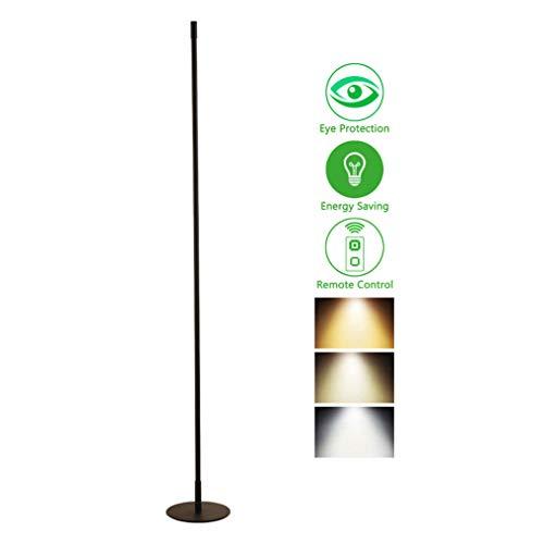XMYX Lámpara de Pie LED Regulable, Lámpara de Suelo Moderna con Control Remoto, Lámpara Vertical Negra Minimalista para Sala de Estar Dormitorio Oficina Lámparas de Pie Lámpara de Metal,120cm