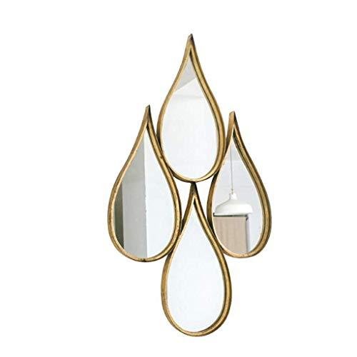 SGSG Espejo de Pared Colgante Espejo Decorativo de Hierro Forjado, Espejo 3D de Gota de Agua en Forma de Gota Europea montado en la Pared