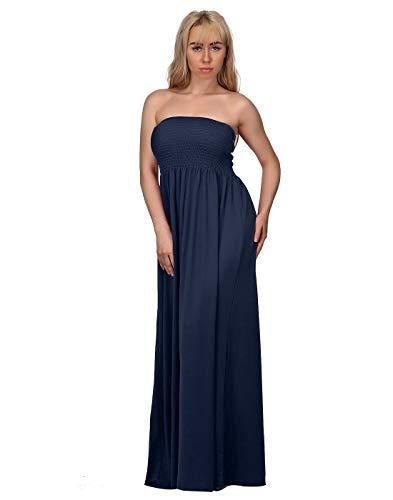 HDE Women's Strapless Maxi Dress Plus Size Tube Top Long Skirt Sundress Cover Up (Navy, 2X)
