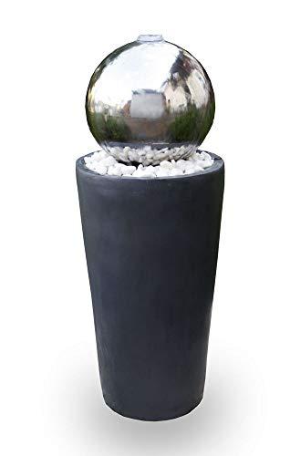 Kiom Kugelbrunnen Gartenbrunnen Brunnen FoBoule Darkgrey mit Edelstahlkugel 75cm 10859
