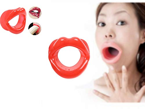 Forocean 2Pcs Silicone Face Slim Exercisers Lips Trainer Anti-Rides Anti-Aging Face-lift Trainer-Red