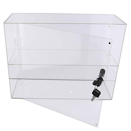 PC3721 @ Eine 2-Fach-Vitrine aus hochglänzendem, klarem Acryl mit Fronttür und Sicherheitsschloss (300 x 400 x 150 mm)
