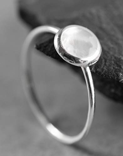 Perlmutt Ring Weiß aus Silber 925 Sterling - Größe nach Wunsch - mit Geschenkbox