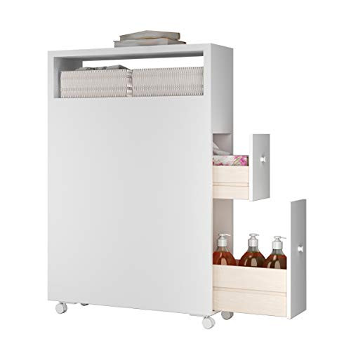 Tangkula Slim Bathroom Storage Cabinet with Wheels, Narrow Rolling Bathroom Floor Cabinet with Slide Out Drawer, Baskets and Wheels, Free Standing Toilet Paper Holder (White)