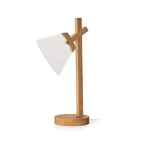 Lámpara de decoración fija de cono LED Wood Lamp, lámpara LED de luz cálida con tallo de madera, superficie de acrílico, efecto tridimensional, alimentación por USB