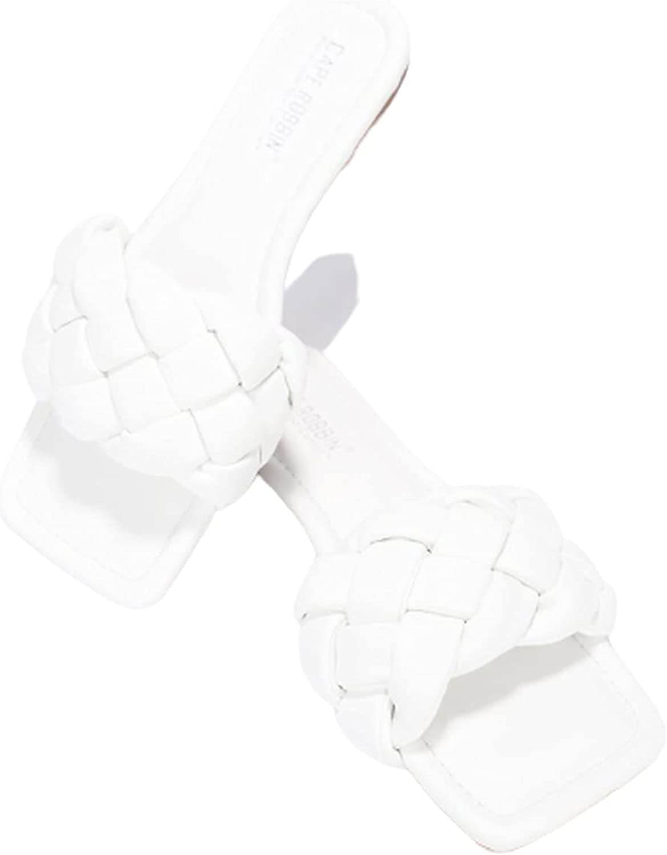 Women's Open Square Toe Flat Sandals Slip On Slide Shoes