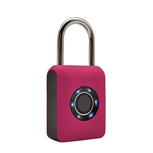 Guard Dog Security Fingerprint Padlock - Smart Lock Ideal for Bikes, Lockers and Luggage - Travel Lock (Pink)