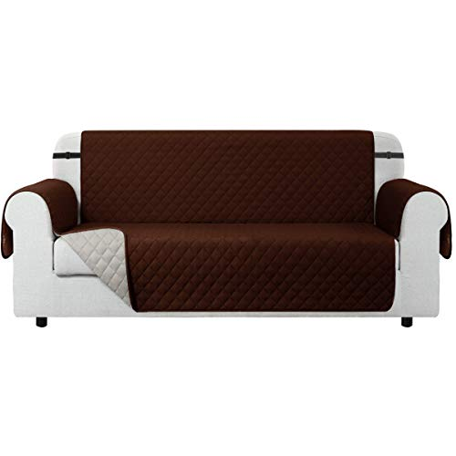 CHUN YI Funda para sofá Funda Reversible para sofá, Protector para sofá con Correas elásticas Ajustables (3 Plazas, Chocolate)