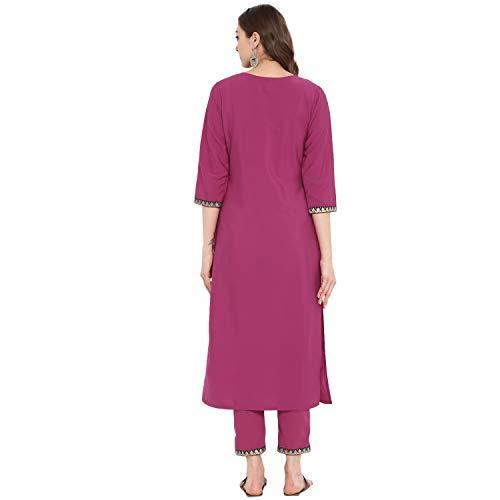 Ziyaa Women's Dyed Straight Crepe Kurta With Pant Set (Zikucr2520Andpa-Pink-M)