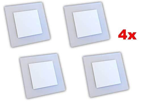LED Wandeinbauleuchte, Treppenbeleuchtung, Beleuchtung von Treppen, Treppenleuchte, Wandeinbaustrahler, Treppenlicht Wandstrahler 230V 2W IP20 (Warm-weiß/Weißer Glanz, 4 Stück)