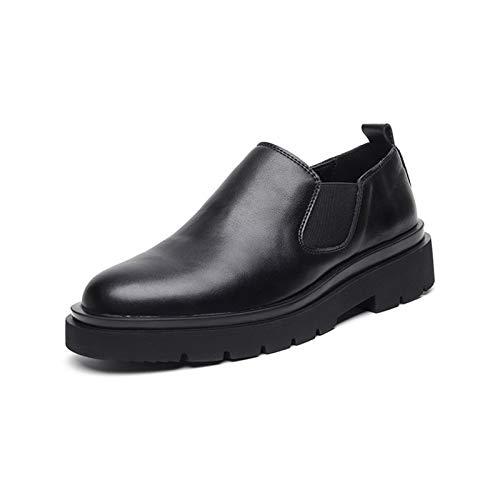 Zapatos casuales Zapatos de la parte baja de la moda, zapatos de punta redonda de doble elástico, plataforma de grifo de color sólido (Color : Black, Size : 40 EU)