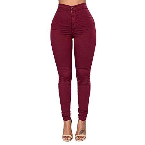 ZKOO Donna A Vita Alta Leggings Elastico Skinny Jeans Pantaloni in Denim Lunghi Matita Pantaloni Vino Rosso