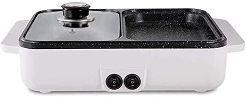 Parrilla eléctrica portátil, Caja fuerte Fondue Fryers Fryers Parrilla eléctrica Mini Mini Multifunción Hot Bot incluso Calor y fácil Limpio, Hervir una olla Inicio Pequeño Pan para hornear Máquina de