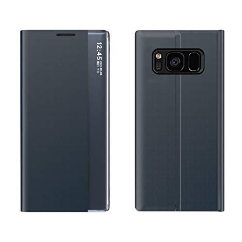 Xyamzhnn Funda telefónica para Galaxy S7 Edge Lateral Pantalla con función magnética/Función de Soporte/Función de sueño Paño de Textura Liso + PC Flip Funda (Color : Dark Blue)