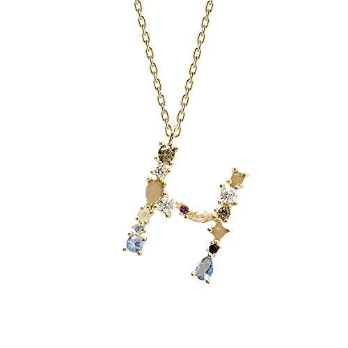 Collar Inicial de Plata de Ley 925, Baño Oro 18K A - Z y Piedras, Colgante Letras para Mujer. Gargantilla Iniciales de Nombre (Letra H)