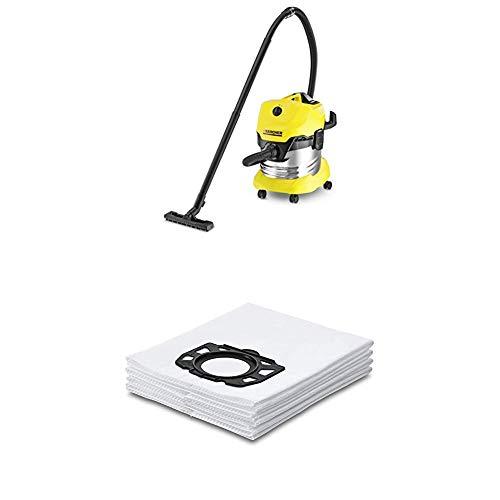 Kärcher WD4 Premium - Aspirador en seco y húmedo, 1000 W, 20 l + Kärcher Bolsas de filtro WD4-WD5-WD6