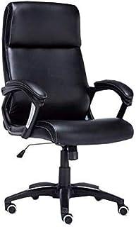 Silla de oficina Sillas de escritorio de oficina Silla de oficina negra | Silla de reunión de los visitantes de cuero de PU con soporte lumbar | Silla de escritorio ejecutiva de gran respaldo con rued