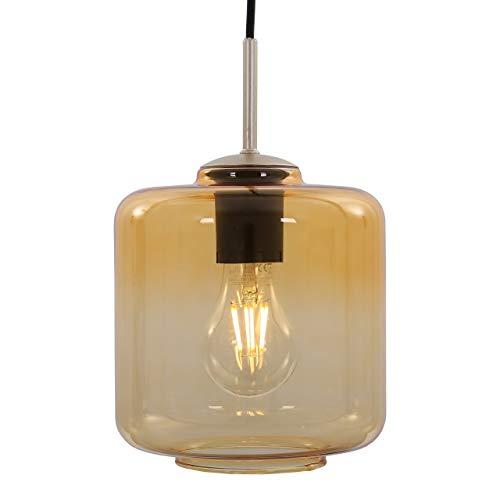 Briloner Leuchten Lámpara de techo colgante con forma de cilindro dorado y ámbar, base de níquel mate, E27, máx. 40 W, incluye cable textil, longitud: 1,20 m, dorado pálido