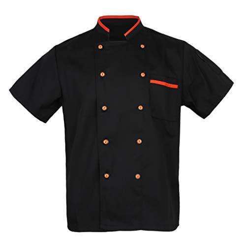 Divise Cuoco Giacca Uniforme Costumo Parti da Donne Abbigliamenti per Albergo - Nero, XXL