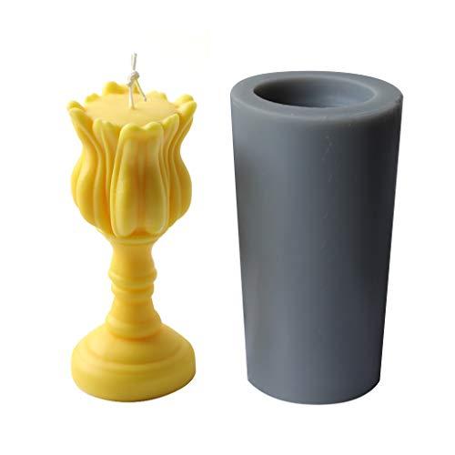 haoyuestory Moule à bougie 3D en forme de tulipe - En silicone - Pour savon - Crayon de couleur - Moule à bougie - DIY - Accessoire de fabrication - Belle décoration de la maison