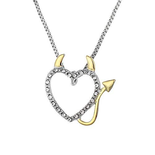 Drawihi Halloween Teufel Herz Halskette Mode Anhänger Schmuck Zubehör 2.5 * 2.7 cm