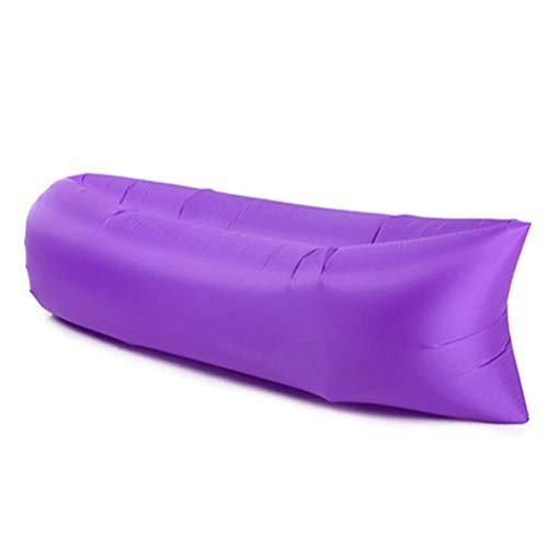 Hbao Muebles de Exterior Silla de Playa Sofá Inflable Silla Plegable Playa al Aire Libre Cojín de Aire Saco de Dormir Bolsa de Dormir Almuerzo Break Break (Color : Purple)