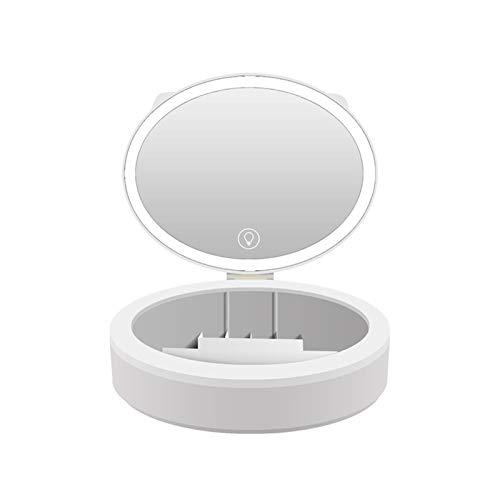 Escritorio Led Espejo de Maquillaje Caja de Almacenamiento Escritorio Integrado Espejo de Regalo portátil de Tres Colores con Relleno de luz con lámpara