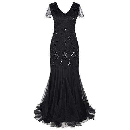 Women Vintage 1920s Sequin Beaded Fringe Art Deco Flapper Formal Evening Party Wedding Gown Long Dress(Black,XXL