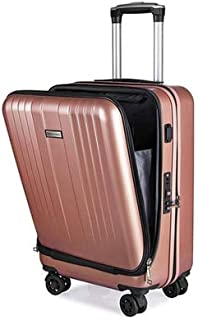 20 Inch Travel Suitcase New Cabin Rolling Luggage with Laptop Bag Women Trolley Case with Charging USB Men Upscale Business Box (Color : Gold)