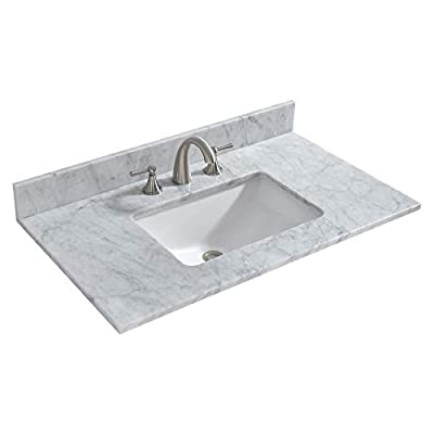"""WOODBRIDGE 37"""" x22 Vanity Top with Under Mount Rectangle Bowl, Carra White, Natrual Marble Stone, 8"""" Faucet Holes. CAVT3722-8, 37""""x22"""" MARBEL"""