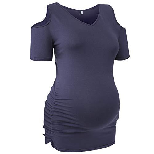T-Shirt Grossesse Manches Courtes Tee Shirt Top Grossesse et Maternité Pyjama Haut Blouse Femme-M/15N