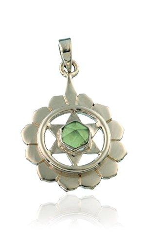 Damen Schmuck Anhänger Chakra Herzchakra Anahata 20 mm, 925 Sterling Silber Peridot Olivin Edelstein Chakrastein grün