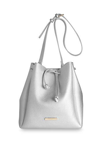 Katie Loxton X-Large Chloe Bucket Women's Vegan Leather Shoulder Handbag Metallic Silver