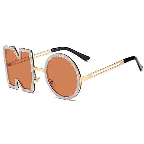 TYOLOMZ Gafas de Sol de Diamantes de Moda para Mujer, Gafas de Sol con Letras de Metal, Gafas de Sol UV400 para Mujer