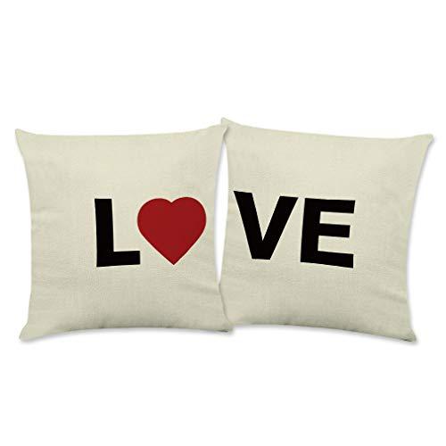 ABTOLS Juego de 2 fundas de almohada para el día de San Valentín de 45,7 x 45,7 cm para decoración del hogar, funda de cojín de lino con cremallera decorativa para sofá, coche, dormitorios y sofás