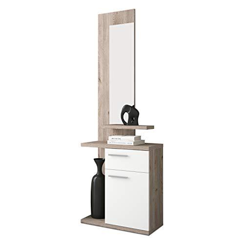 HomeSouth - Recibidor con Cajon y Puerta, Mueble de Entrada con Espejo, Acabado en Blanco y Nelson, Modelo Enter, Medidas: 60,5 cm (Ancho) x 186 cm (Alto) x 27,8 cm (Fondo)