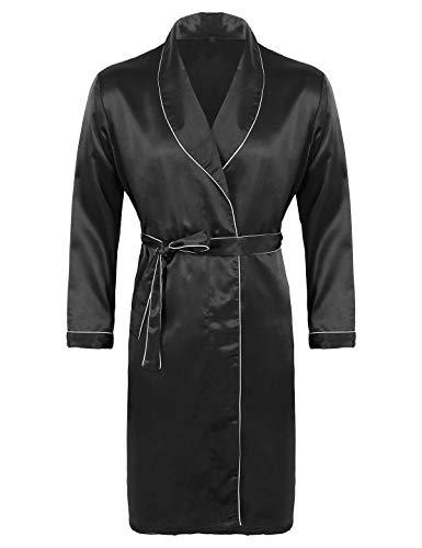 Alvivi Albornoz Satinado Sueva Verano Kimono Pijama Larga Ropa de Dormir Hombres Mujeres Bata De Baño para Hombres Negro XXXL